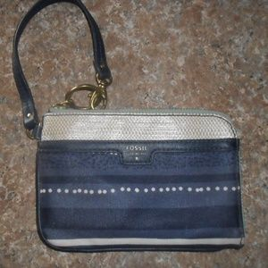 Fossil Wristlet Oilcloth Denim Blues NWOT Must See